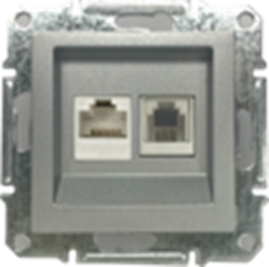 Picture of DOUBLE RJ45 CAT.6 UTP + RJ11 NATURAL