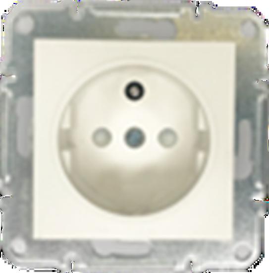 Picture of SCHUKO SINGLE SOCKET 2P+E (p-earth)  PEARL WHITE
