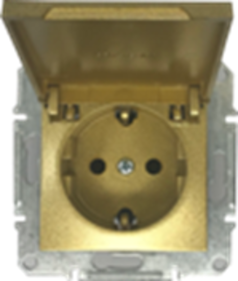 Picture of SCHUKO SINGLE SOCKET 2P+E (s-earth) LID GOLD