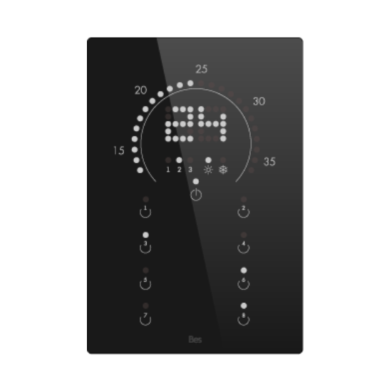 Picture of Vertical touch panel thermostat - Circular LED indicator - Basic black